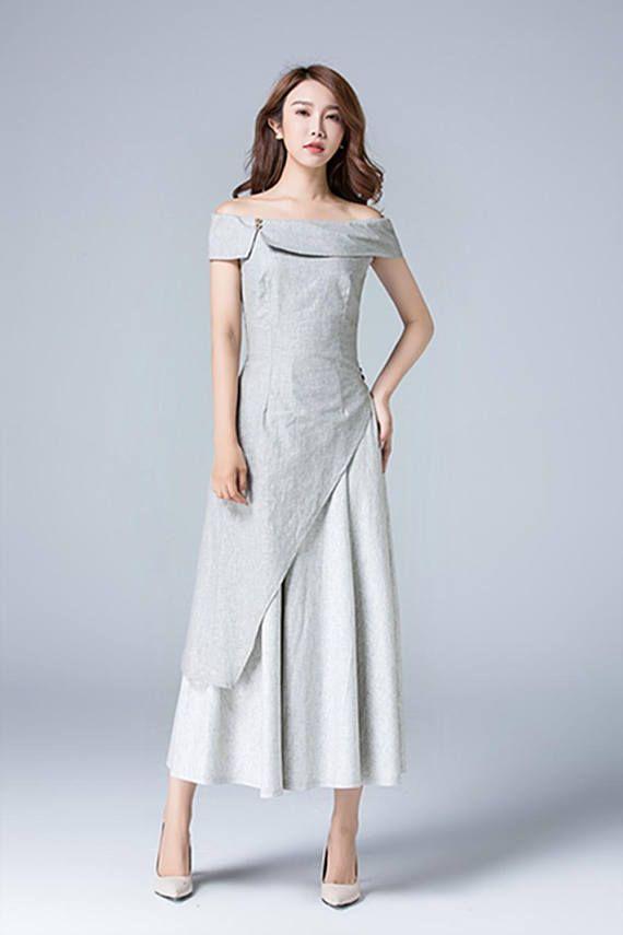 Gray dress, linen dress, off shoulder dress, romantic dress, maxi ...