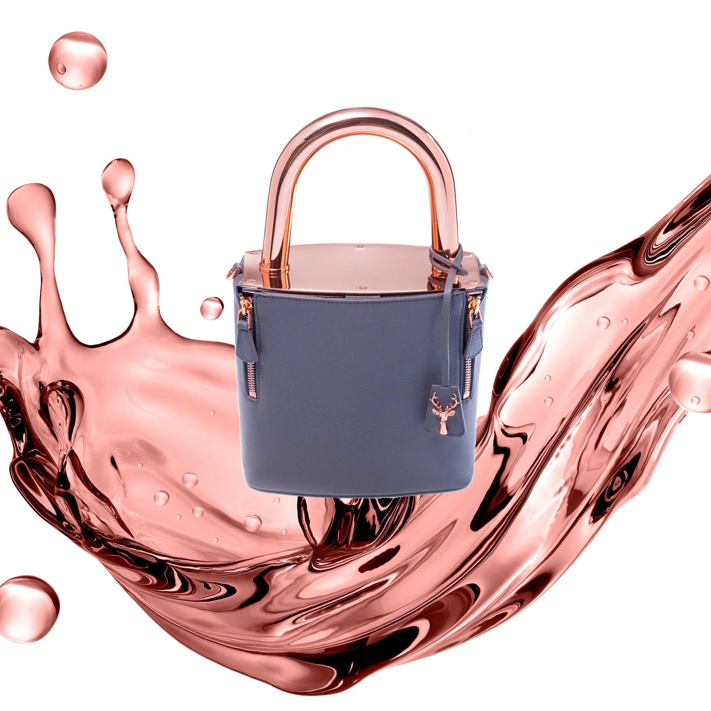 65d6a21685 Savas Milano Rose Gold Grey Leather lock it bag Padlock lucchetto lockit  handbag lady bag one of a kind bag