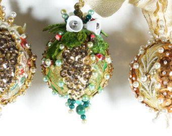 Beaded Christmas Ornaments Vintage 1960s Midcentury Crystal Bead Metallic Brocade Ornaments - Brocade Ribbon Beaded Ornaments - Set of 3