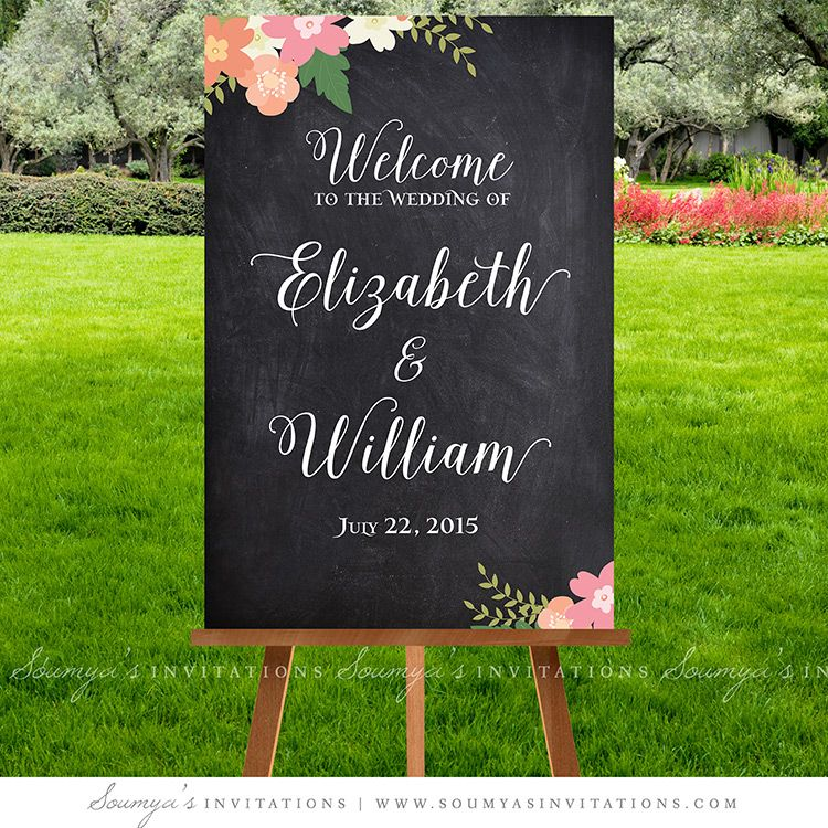 Wedding Signage Ideas: Chalkboard Wedding Signs, Wedding Welcome Sign, Printable