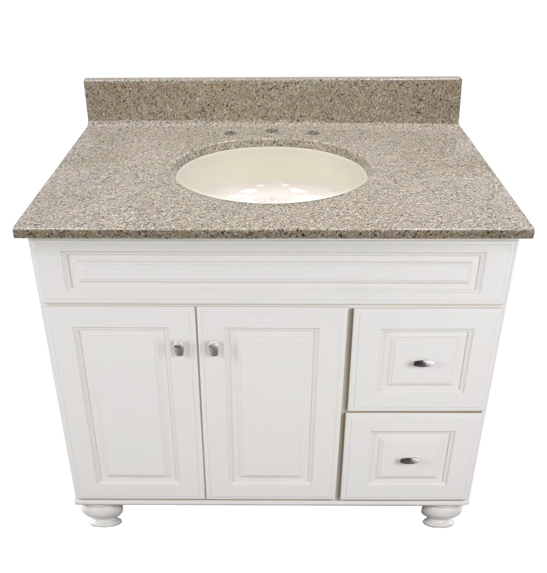Vanities · US Marble Cultured Magna Granite, shown in Pebble. Eased Edge  with Oval Undermount Bowl