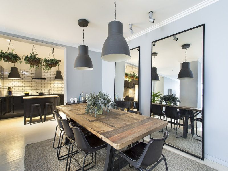 Industrial Style Dining Room, Rustic Wooden Table, Large Mirrors With Black  Surround, Gray Pendant Lights