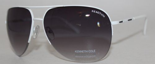 kenneth cole sunglasses  Kenneth Cole Reaction Sunglass Shiny White Aviator, Smoke Gradient ...