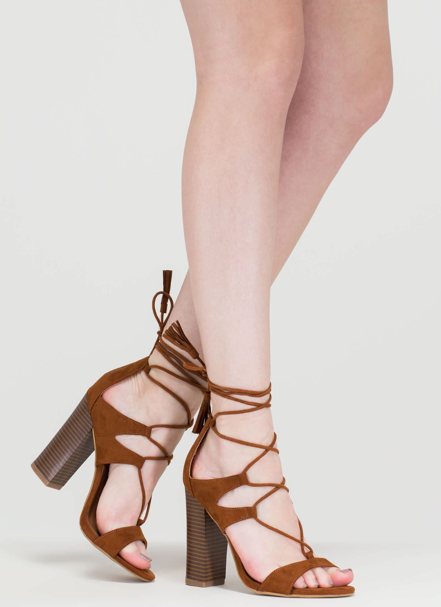 9c628e7dc99 Strappy Starlet Chunky Lace-Up Heels CHESTNUT