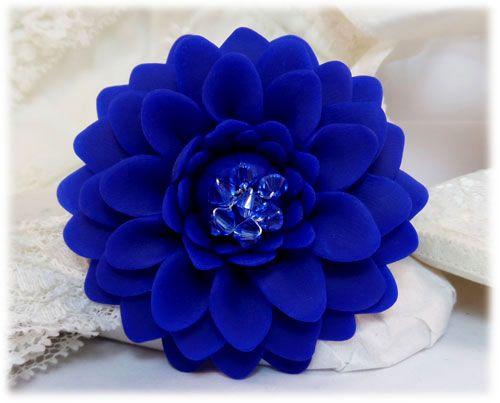 Blue Dahlia Hair Clip : Blue Flower Brooch