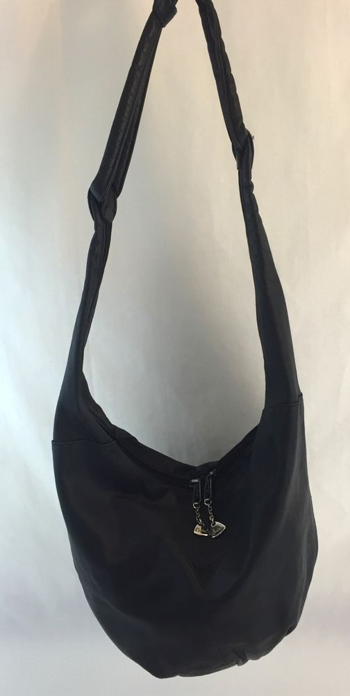 Brio Handbag Hobo Purse Black Leather Double Zippers