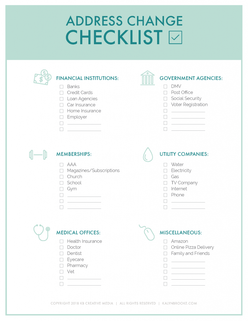 Keep This List Handy For Your Next Move Change Of Address