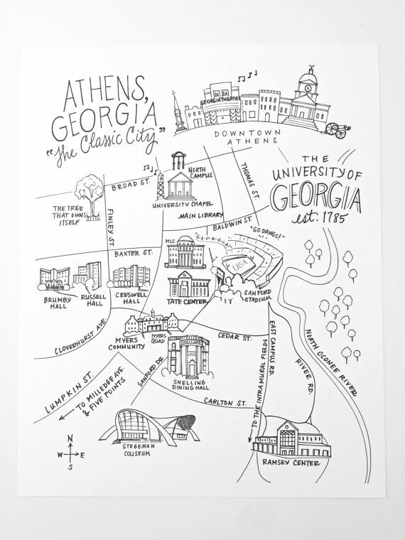 Uga Campus Map With Building Numbers.Pen And Ink University Of Georgia Athens By Nattymichellepaperie