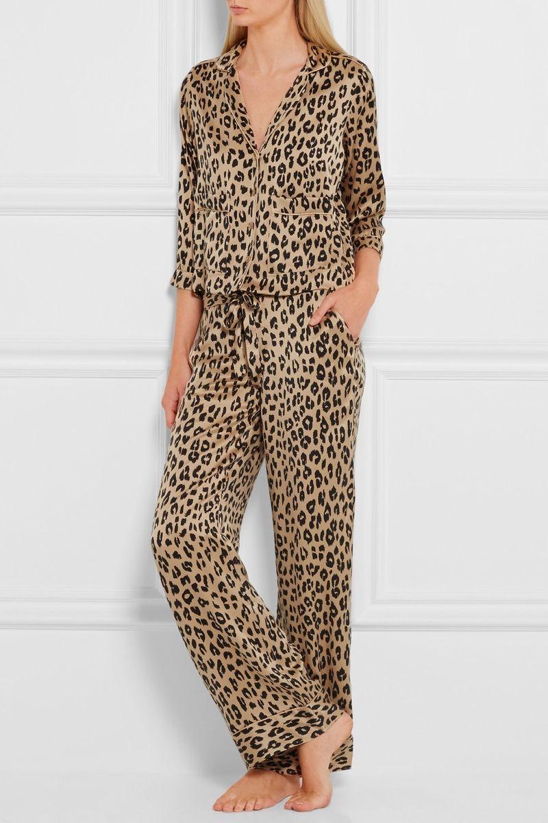 Kate Moss pour l équipement Leopard Print Silk Pajama Shirt et pantalon 6657d6c59