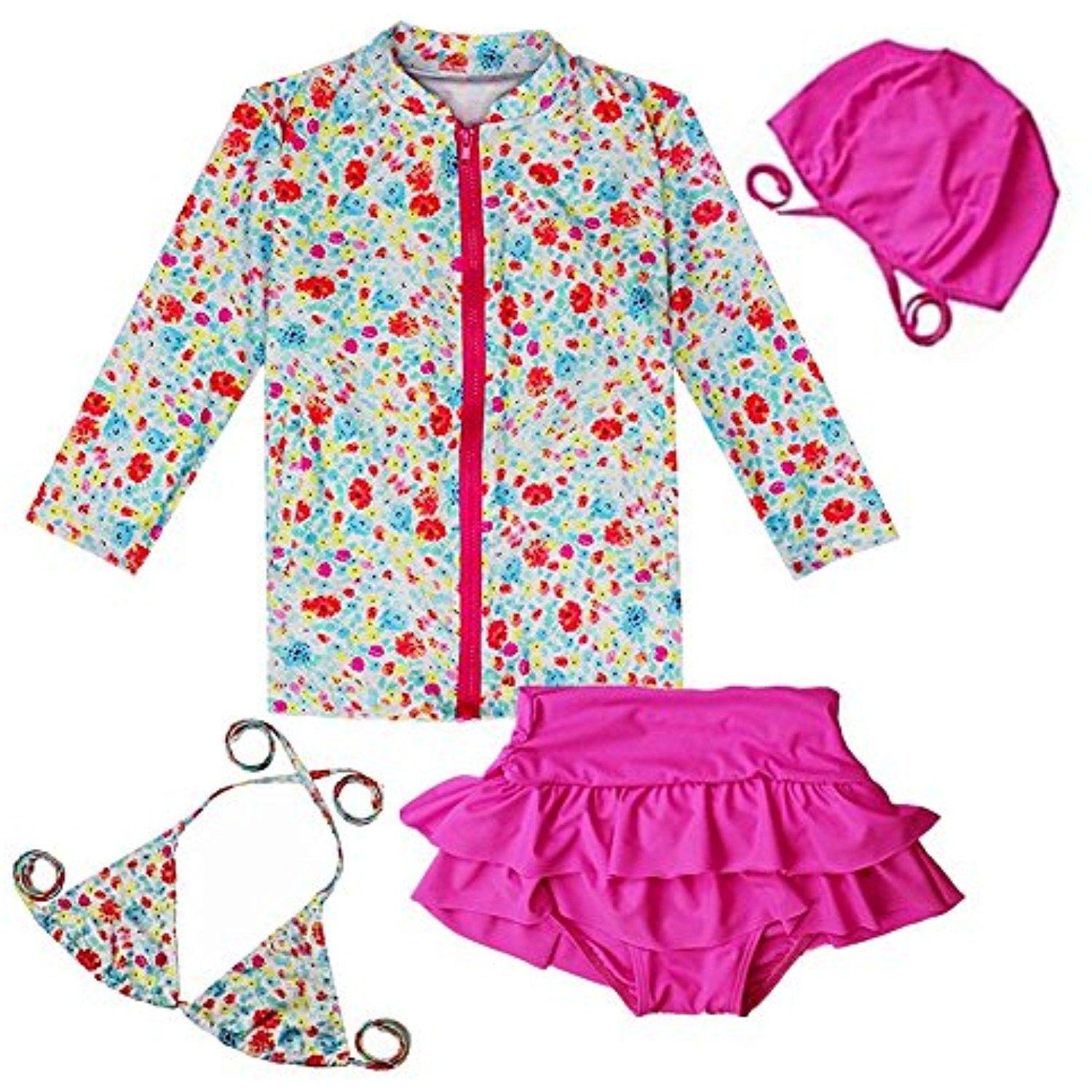 5c97a318e8 ZYZF Baby girls Floral long sleeve Rash Guard Top Two-piece bikini set UPF  50 UV Swimsuits Swimwear -- For more information, visit image link.