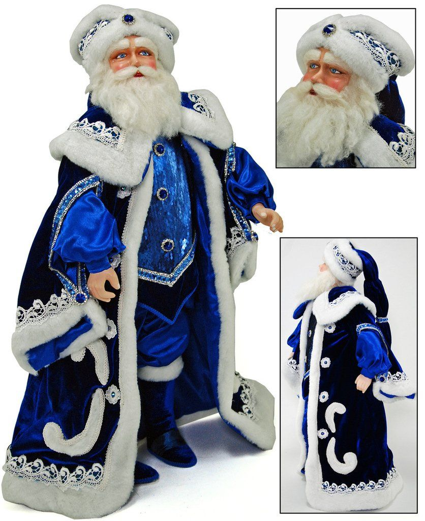 """Katherine's Collection Azure Ice Christmas Collection 24"""" Azure Ice Santa Claus Doll Free Ship-IN STOCK"""