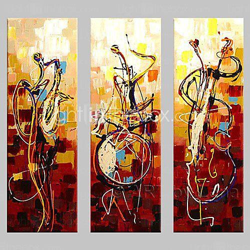 tocar instrumentos decoración del hogar del arte abstrac murales pintados a mano de pintura al óleo en la lona 3pcs / set sin marco 2016 - $40.84
