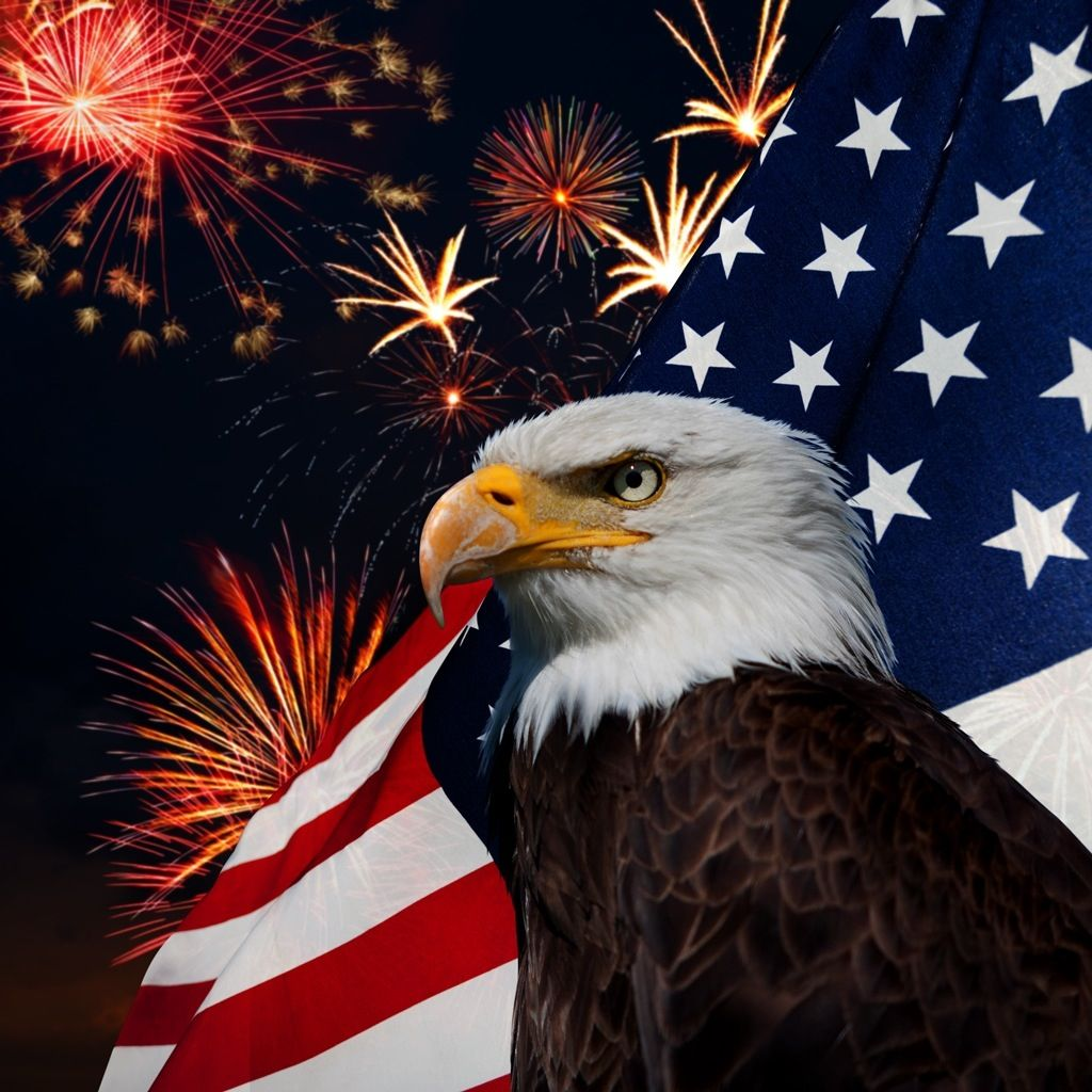 American flag. Fireworks. Bald Eagle. | Wallpaper ...