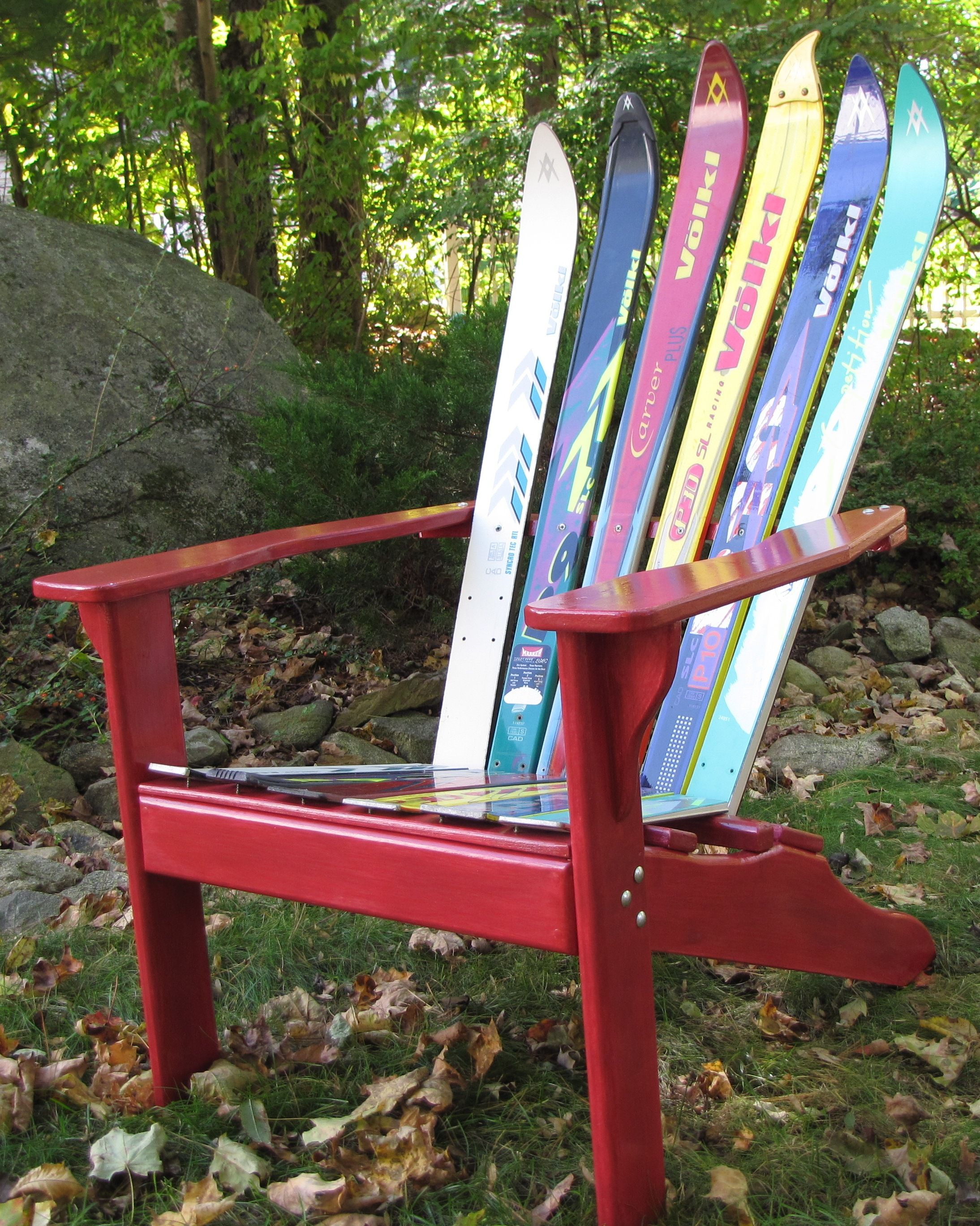 Adirondack Ski Chair made with recycled skis. New England