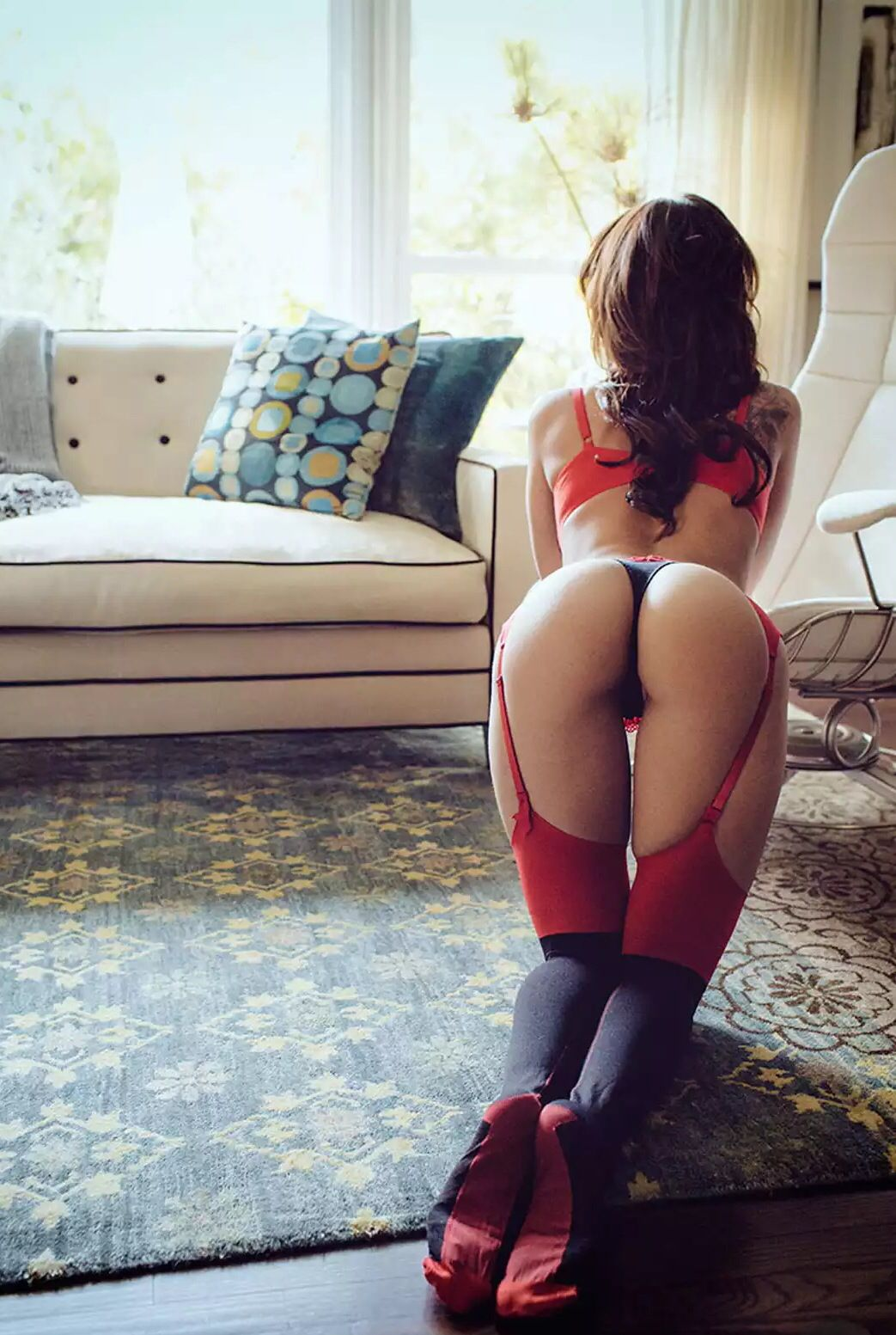 bent Girl over behind view from stockings