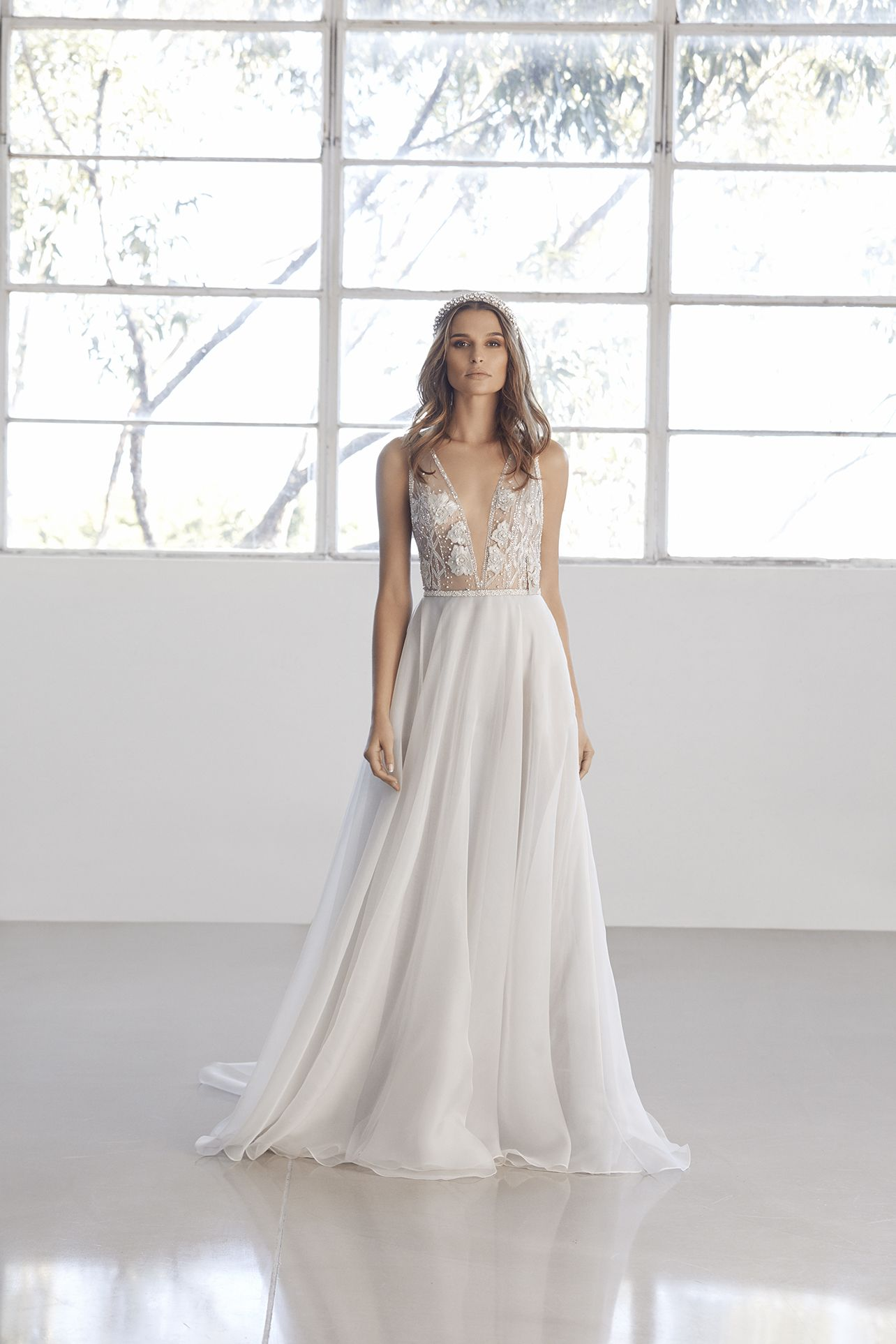 4d23fd4e615 Embellished tulle plunge bodysuit with open illusion back and circular silk  organza skirt