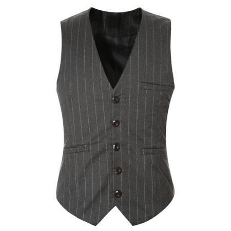 Striped Buckle Back Single Breasted Men's Vest