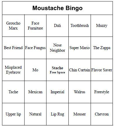 Individual Printable Mustache Bingo Cards For Baby Shower Or