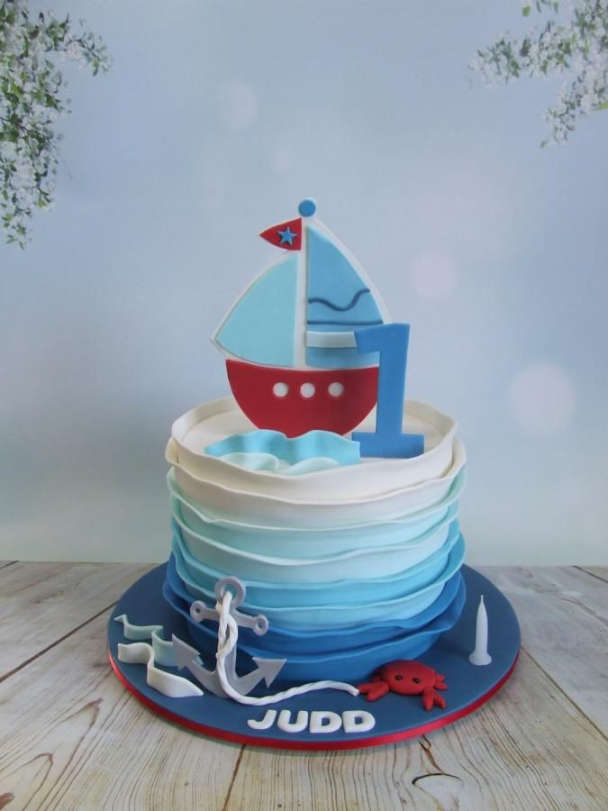 1st Birthday Boat Cake Cake By Cake A Chance On Belinda Nautical