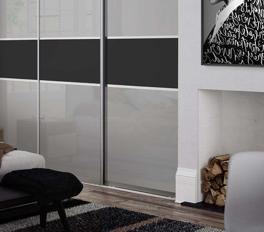Premium Midi 3 panel fineline panel sliding wardrobe doors in Grey glass and Black panel with & Premium Midi 3 panel fineline panel sliding wardrobe doors in Grey ...