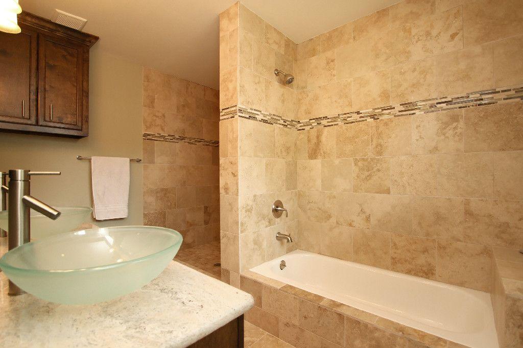 Travertine bathroom with glass sink bathroom ideas for Travertine sinks bathroom