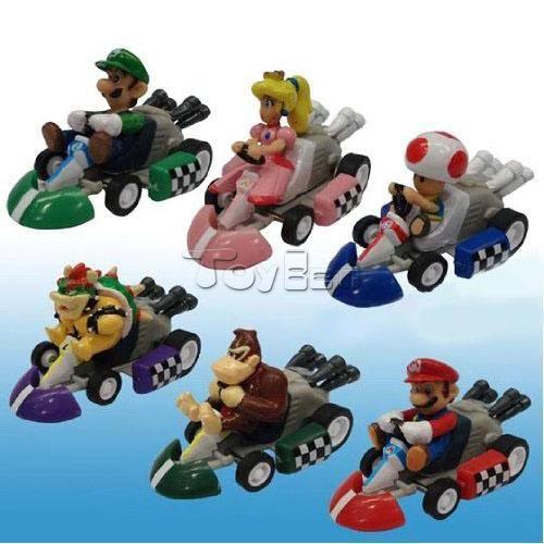 6pc Super Mario MarioKart Wii Luigi Diecast Kart Action Figure Figurines Set Toy