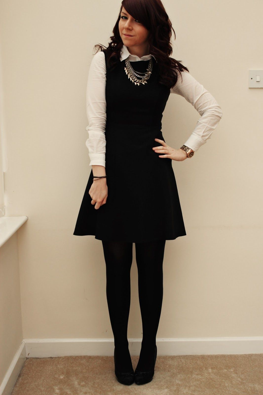 Cute Work Wear That Isnu0026#39;t Old Looking. Button Up Under Sleeveless Dress With Tights # ...