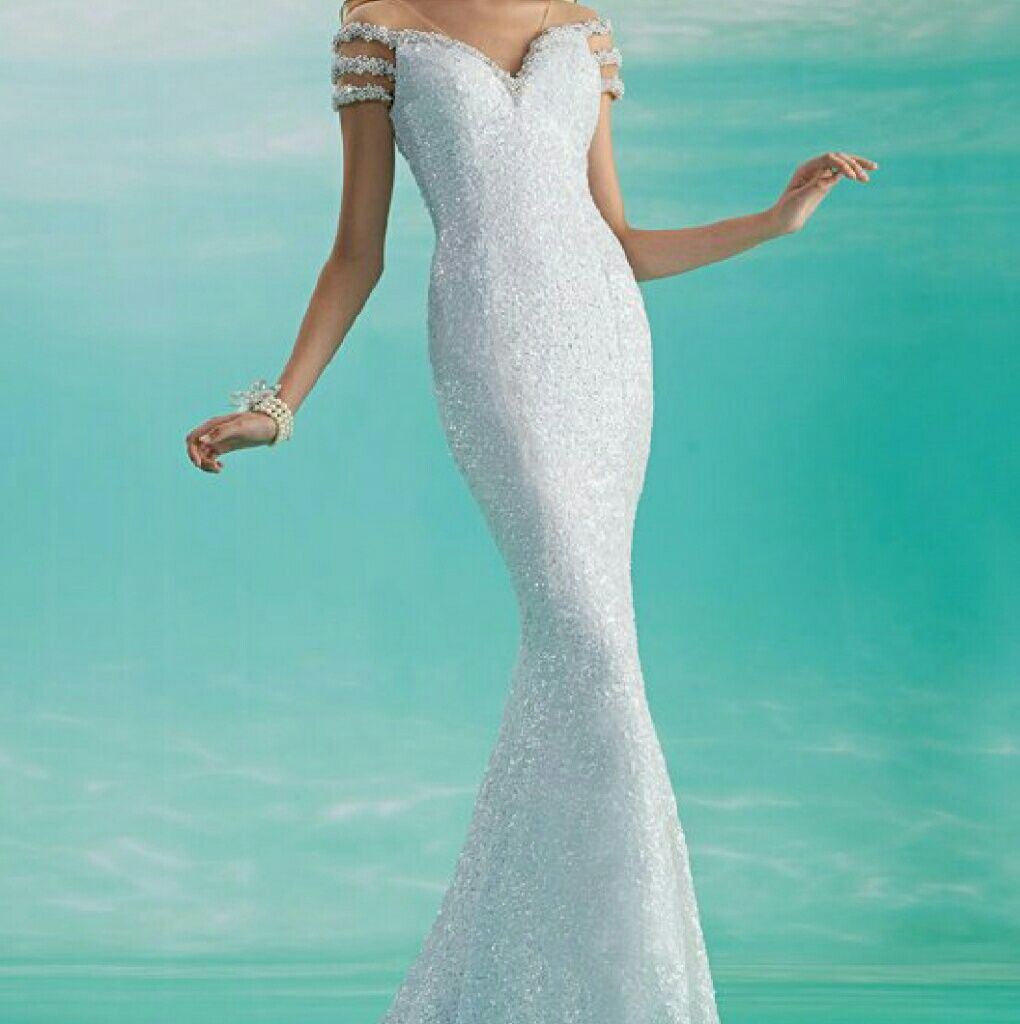 Breathtaking White Pearl And Sequin Gown | Sequins, Pearls and Cap