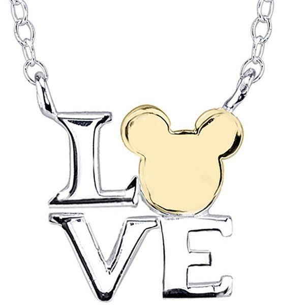 Disney Mickey Mouse Love Sterling Silver Necklace ($62) ❤ liked on Polyvore featuring jewelry, necklaces, disney, bijoux, cross necklace, pendants & necklaces, chain necklace, body chain jewelry and pandora jewelry