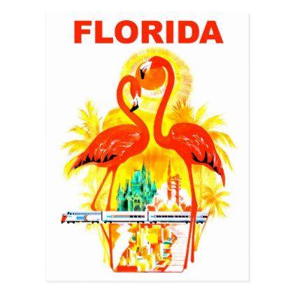 flamingo post florida collection vintage card