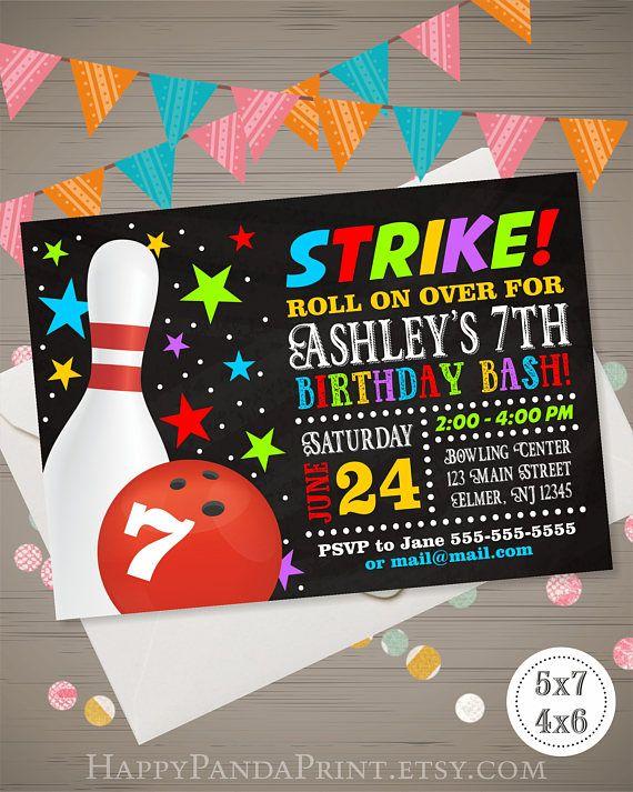 bowling birthday invitation bowling party invitation bowling