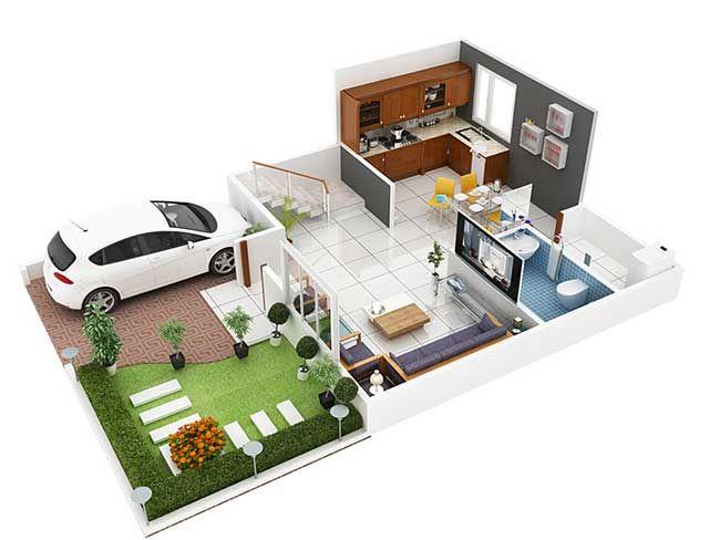 3D Duplex House Plans - MyhomeMyzone.com