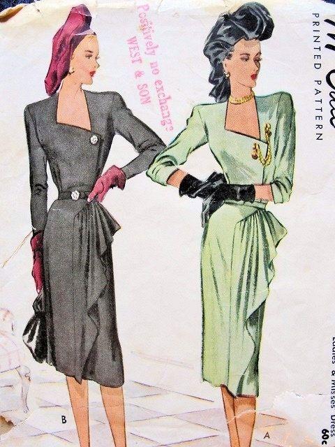 1940s McCall 6714 | Wedding | Pinterest | Vintage kleider, 1940er ...