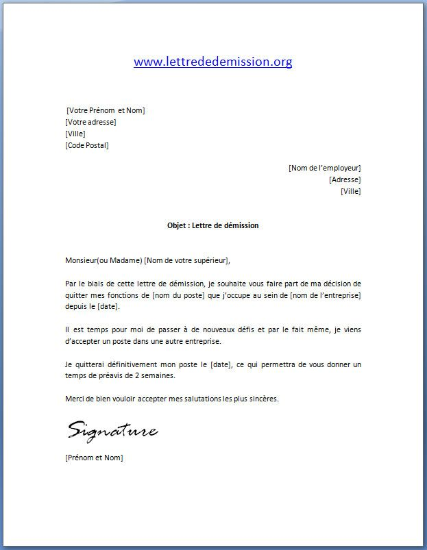 mod u00e8le lettre de d u00e9mission avec pr u00e9avis