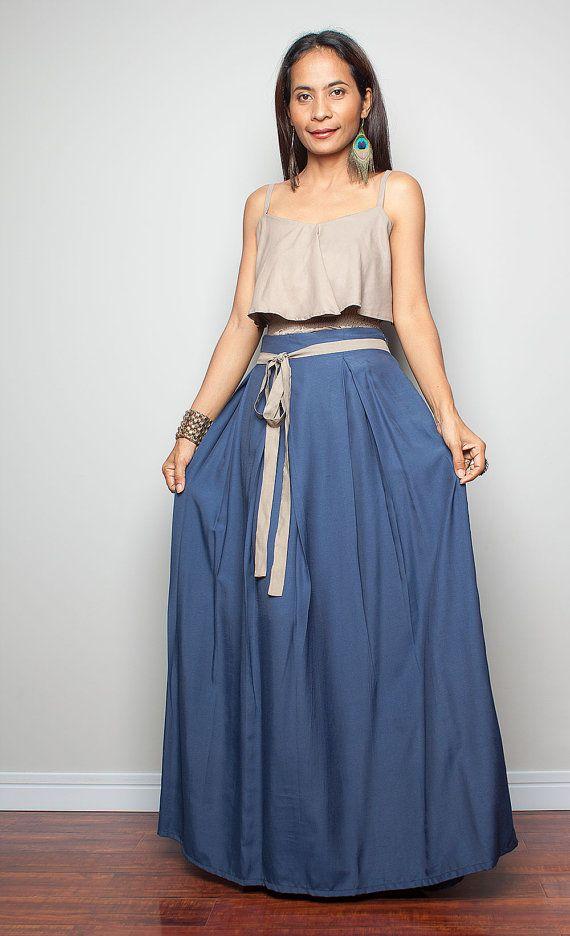 Floor Length Skirt / Maxi Skirt  / Blue Skirt with by Nuichan, $52.00
