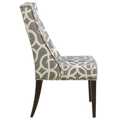 Owen Pewter Wingback Dining Chair With Espresso Wood