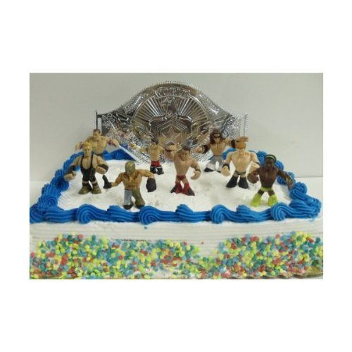 Amazing 9 Piece WWE Wrestler Rumblers Wrestling Birthday Cake Topper