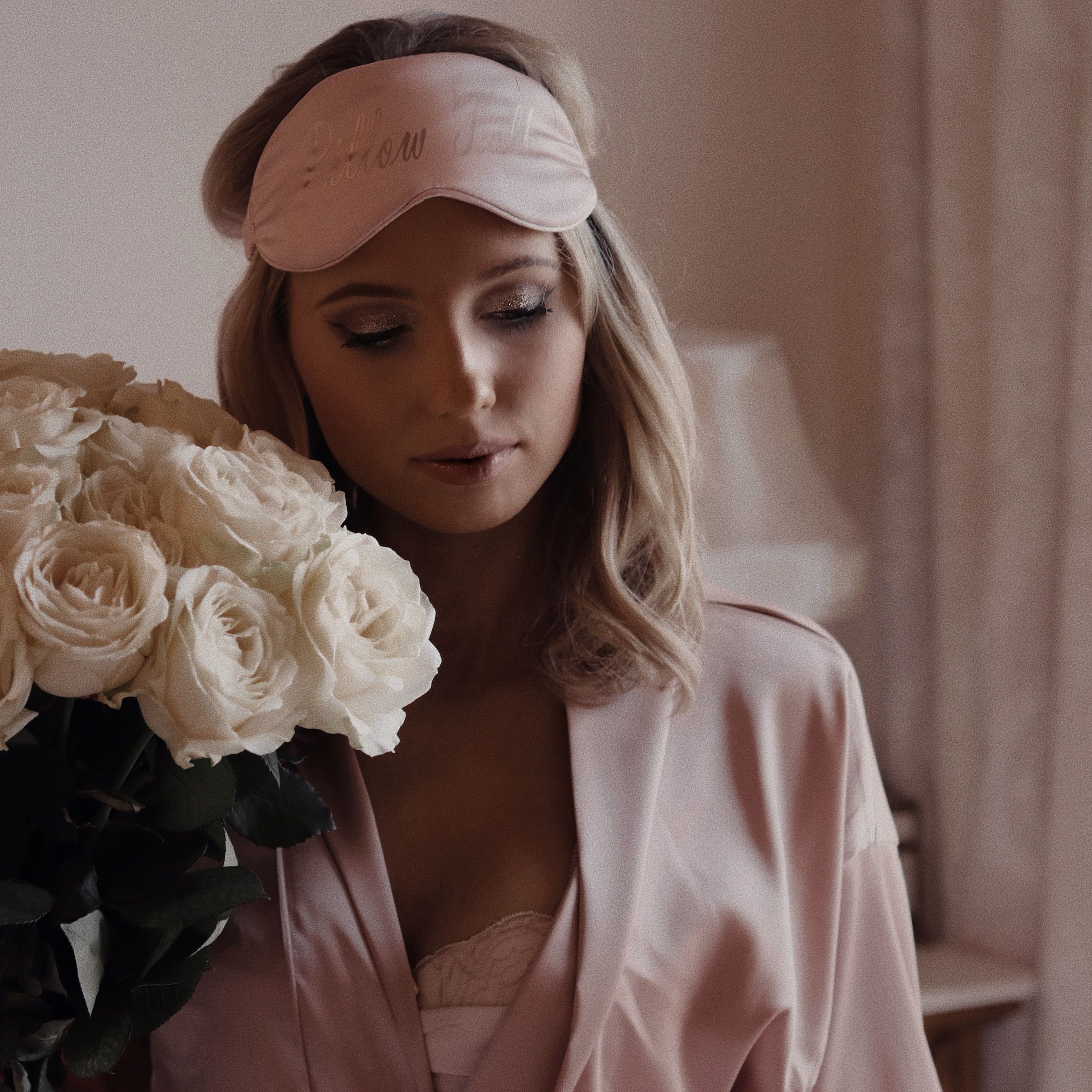 'Pillowtalk' Personalised Silk Eye Mask in Blush