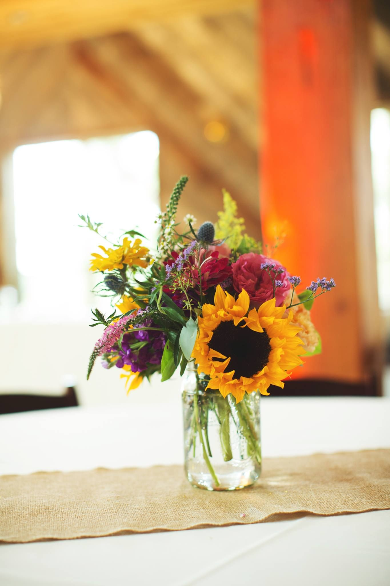 Sunflower Center Pieces Pink And Yellow Wedding Flowers Rustic