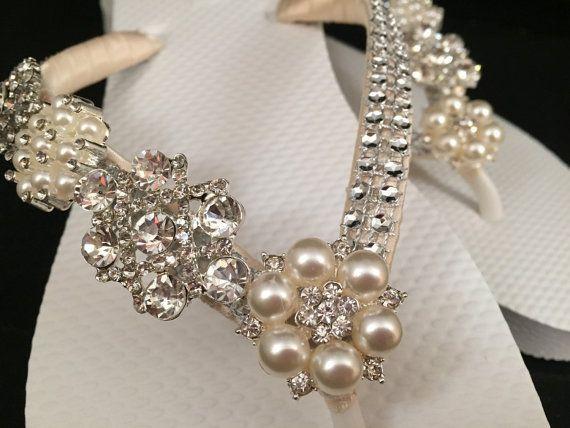 54ff7353bec7 So Sweet Bride Jordan Bridal Flip Flops Pearl Gem Custom Flip ...