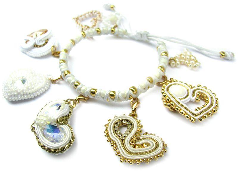 Slubna Bransoletka Z Charmsami Dla Milosniczek Bieli Soutache Bracelet Charm Bracelet Jewelry
