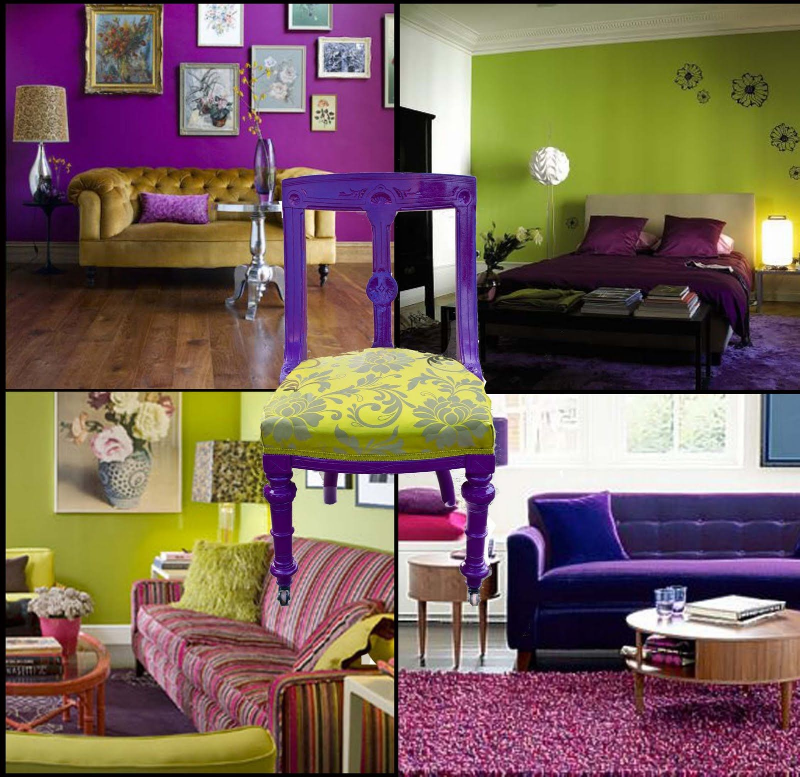 Very Colorful Bedroom: Very Cool Lime Green Purple Room Ideas!