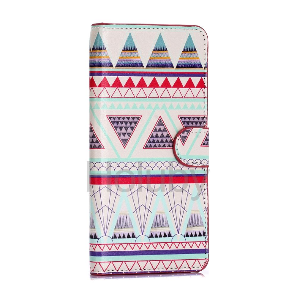 Magnetic Buckle Stand PC+PU Leather Case for Samsung Galaxy S6 Edge Plus - Tribal Style