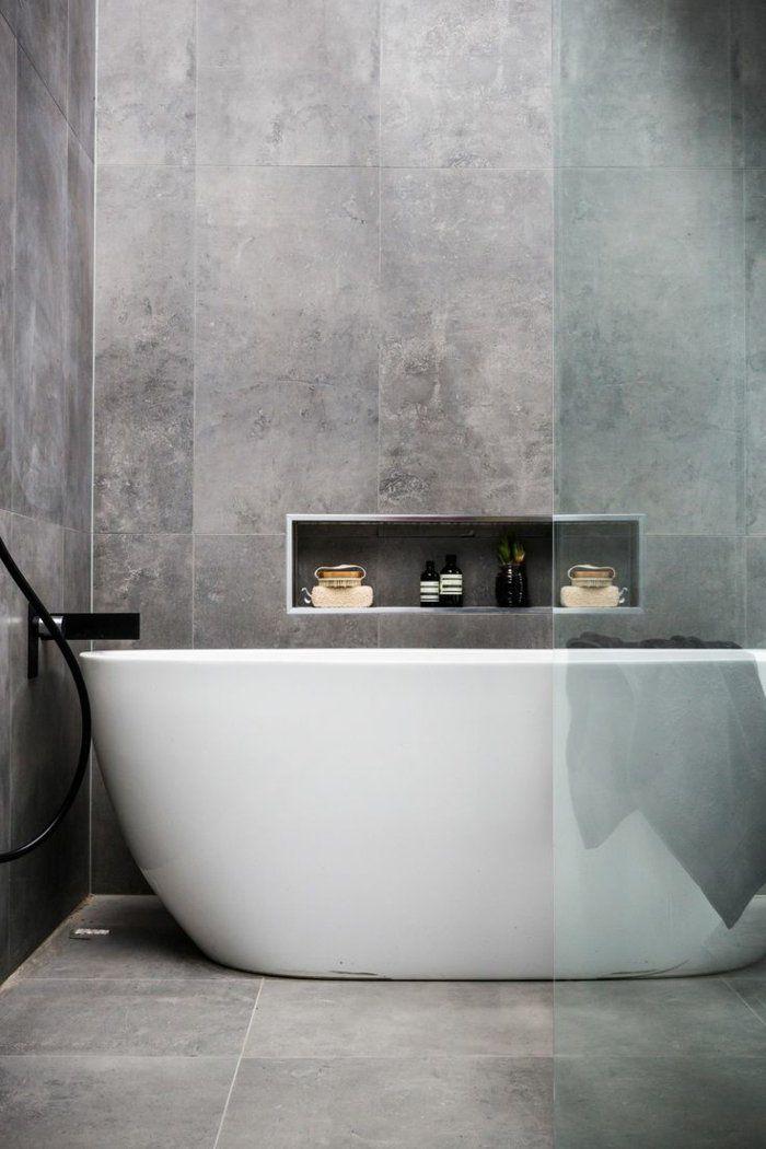 badfliesen badideen kleines bad grau badewanne glserne duschwand - Badideen Kleines Bad