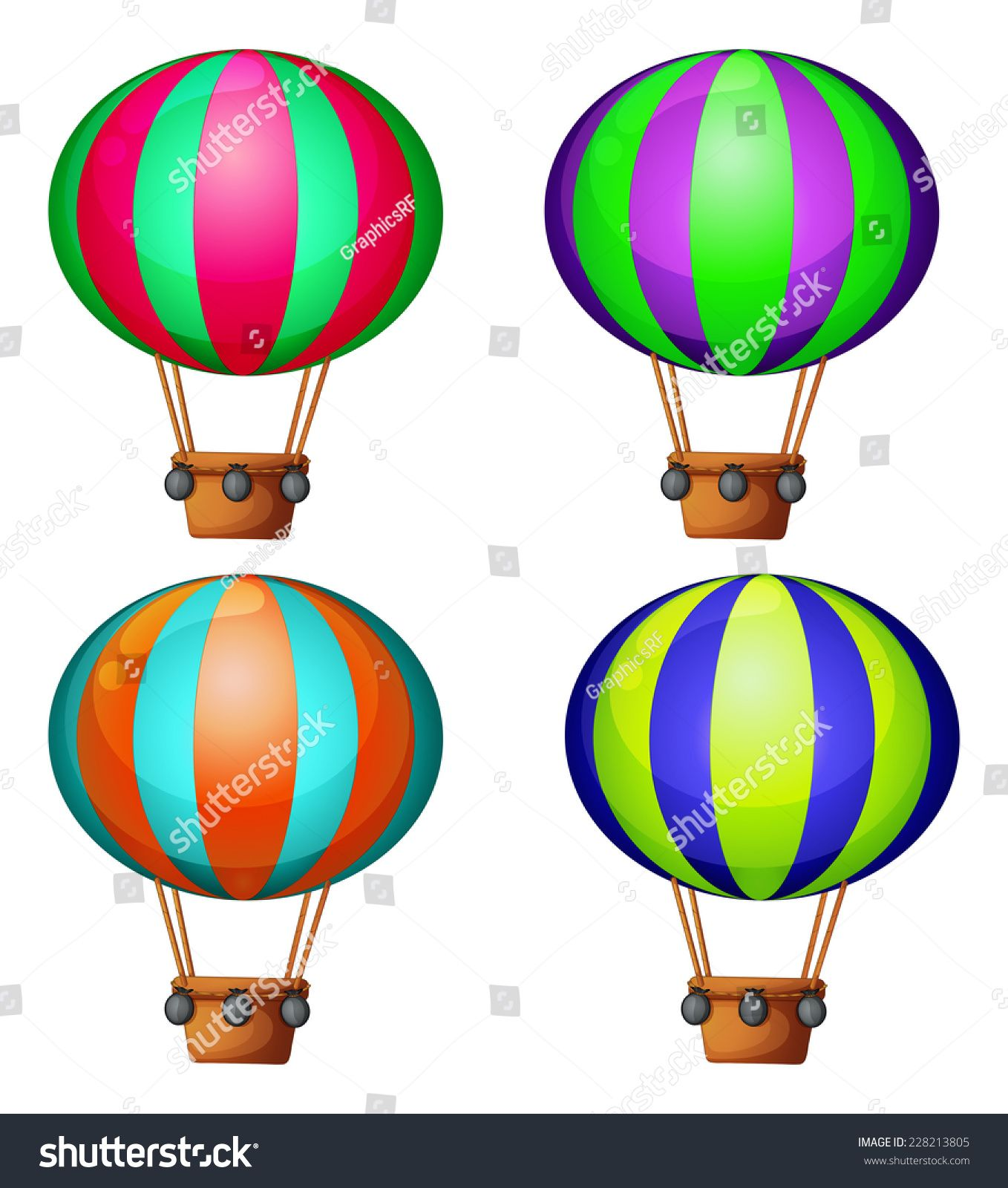 Set of 4 hot air balloons #Ad , #Ad, #hot#Set#balloons#air