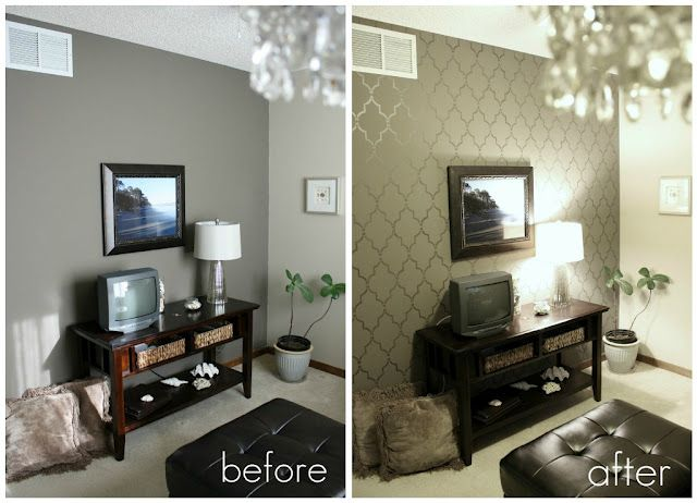 Before and after using a very large paint stencil. It looks like wallpaper, but no peeling off ...