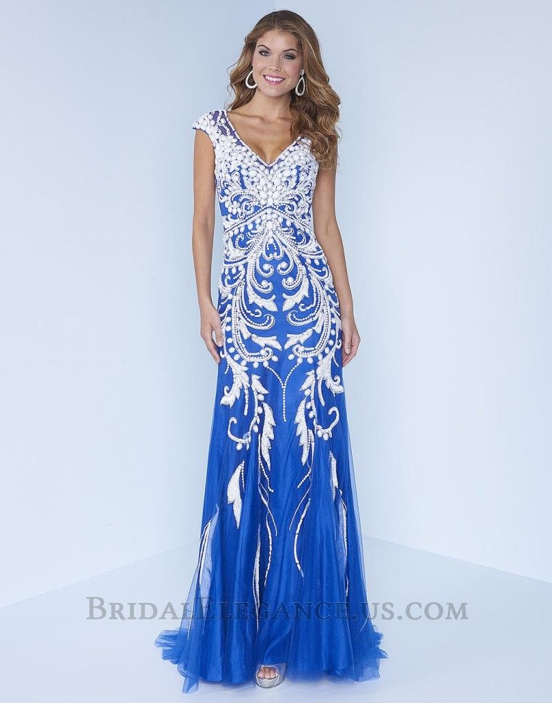 Royal Blue & White Sequin Designed Dress C015 | Prom Dresses ...