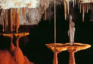 """Deep within Lechuguilla Cave, these shelfstone """"tables"""" formed at an old water level in the chamber known as Atlantis."""