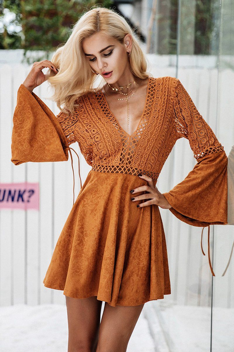 22564feec90 Lace Hollow Out Flare Sleeve Dress in 2019