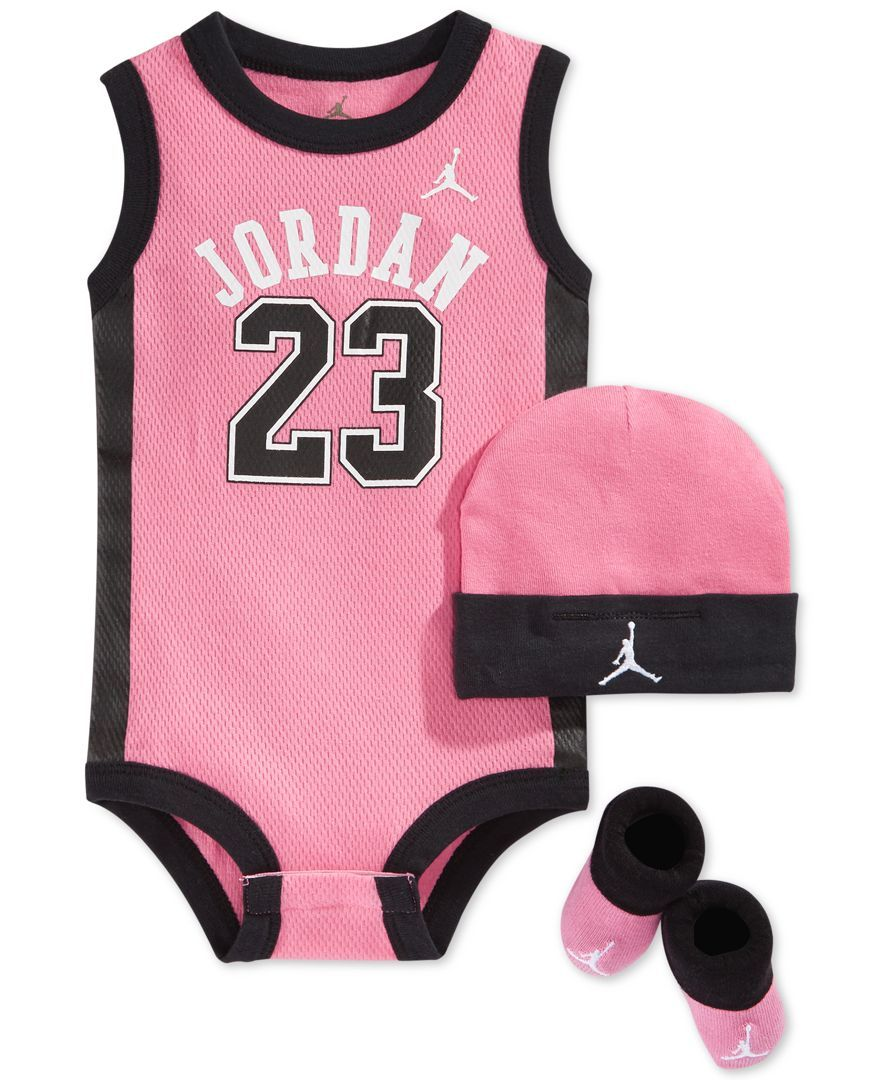 Baby Girl Jordan Clothes Entrancing Jordan Baby Girls' 3Piece Jersey Bodysuit Hat & Booties Set  Baby Inspiration